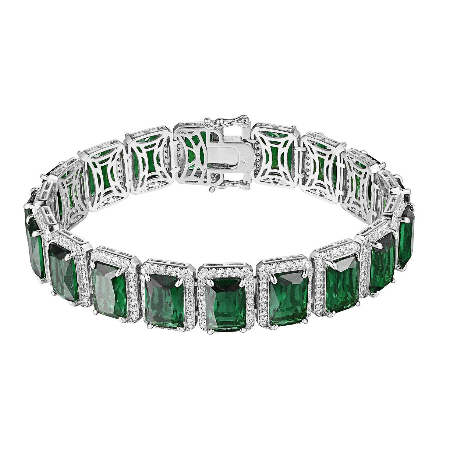 Green ruby cz bracelet silver tone iced out hip hop mm rick ross