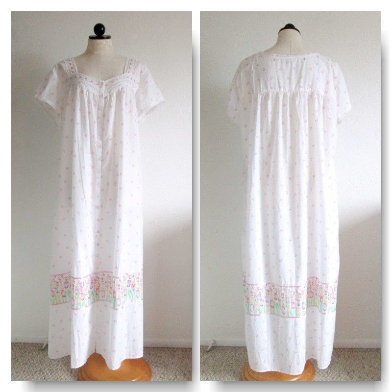 4407ba6678 LANZ OF SALZBURG Tulip Print Woven Cotton Button Front Lounge Nightgown 2X  NWT Morgenb.com