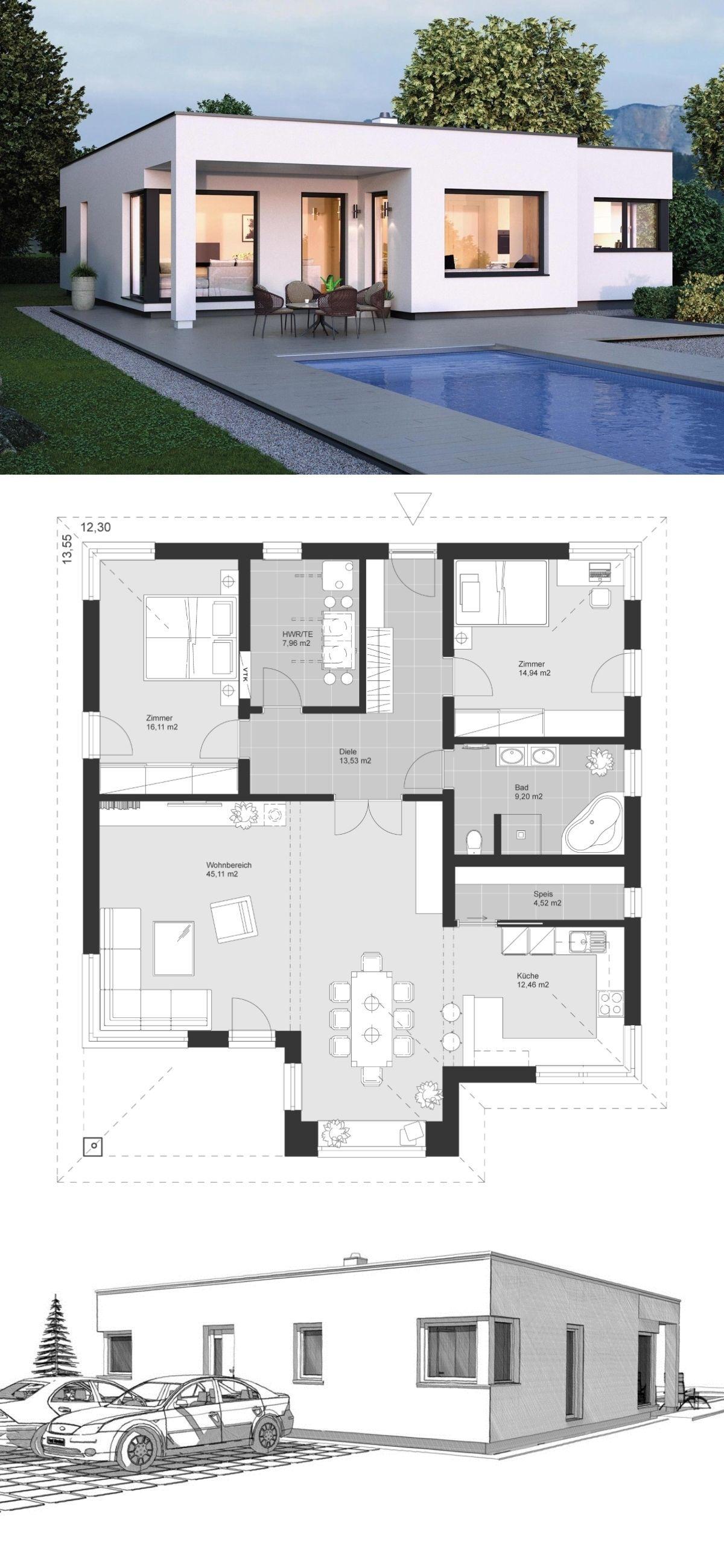 Bauhaus Bungalow modern mit Flachdach Architektur & 3