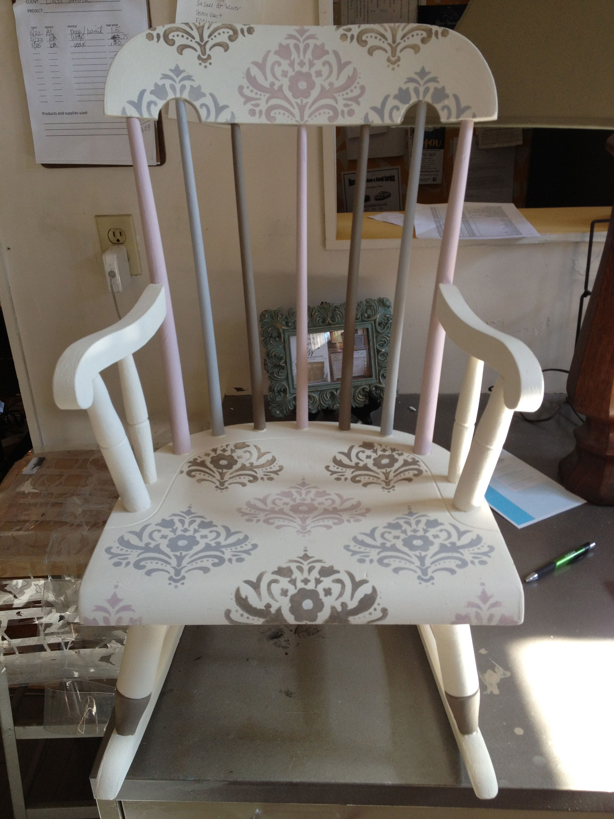childs rocker in annie sloan chalk paint tm old white paris grey coco antoinette. Black Bedroom Furniture Sets. Home Design Ideas