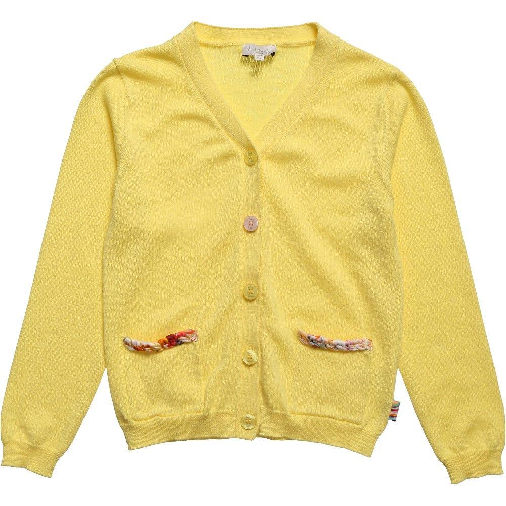 Girls Yellow Knitted 'Halix' Cardigan, Paul Smith Junior, Girl ...