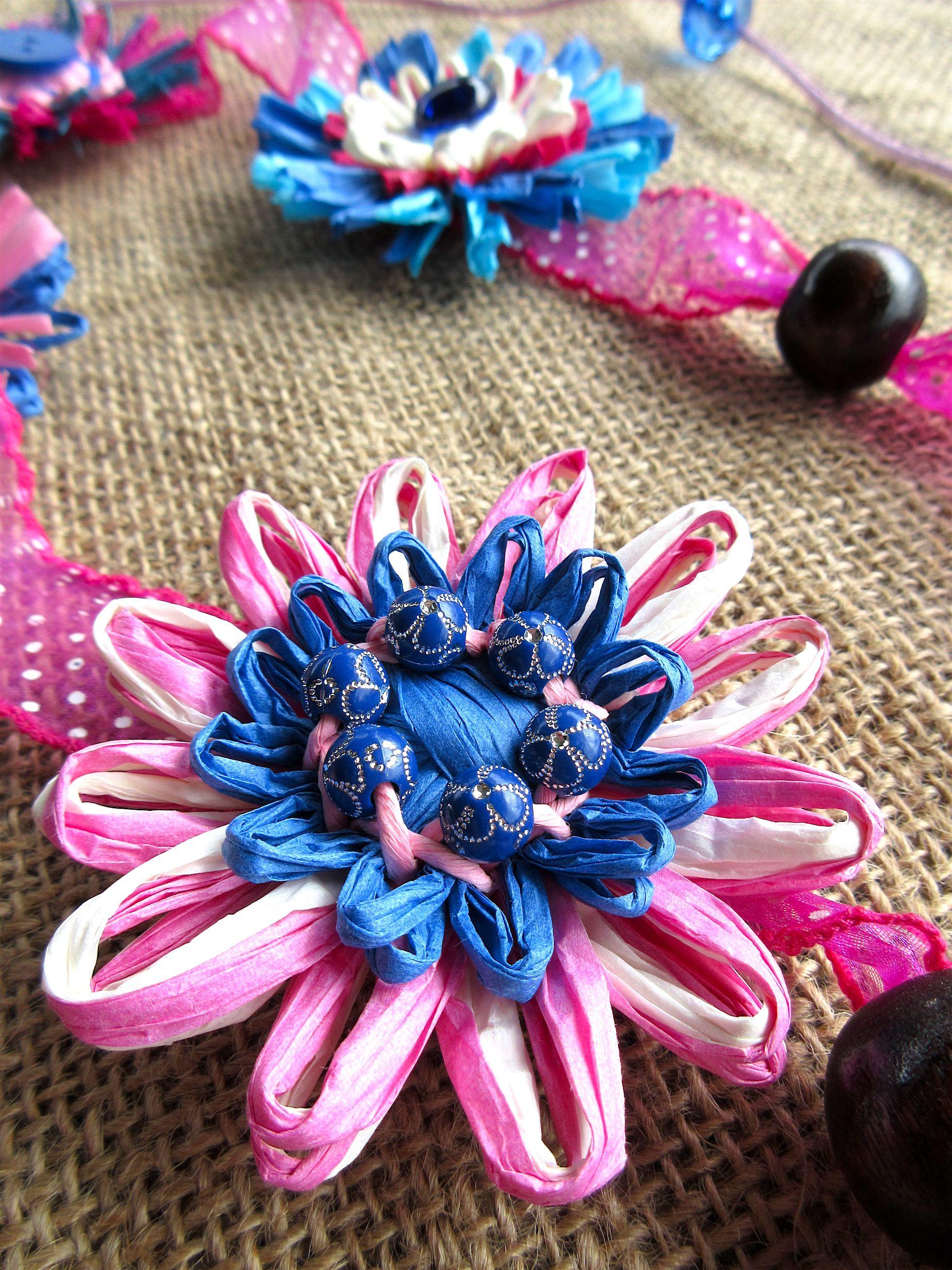 An everlasting flower blue pink white handmade of paper raffia an everlasting flower blue pink white handmade of paper raffia izmirmasajfo