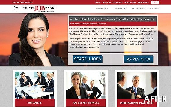 Corporate Job Bank, a local staffing agency with deep ties to Arizona's job market came to us to build their new website.  #ptsmultimedia #websitedevelopment #digitalmarketing