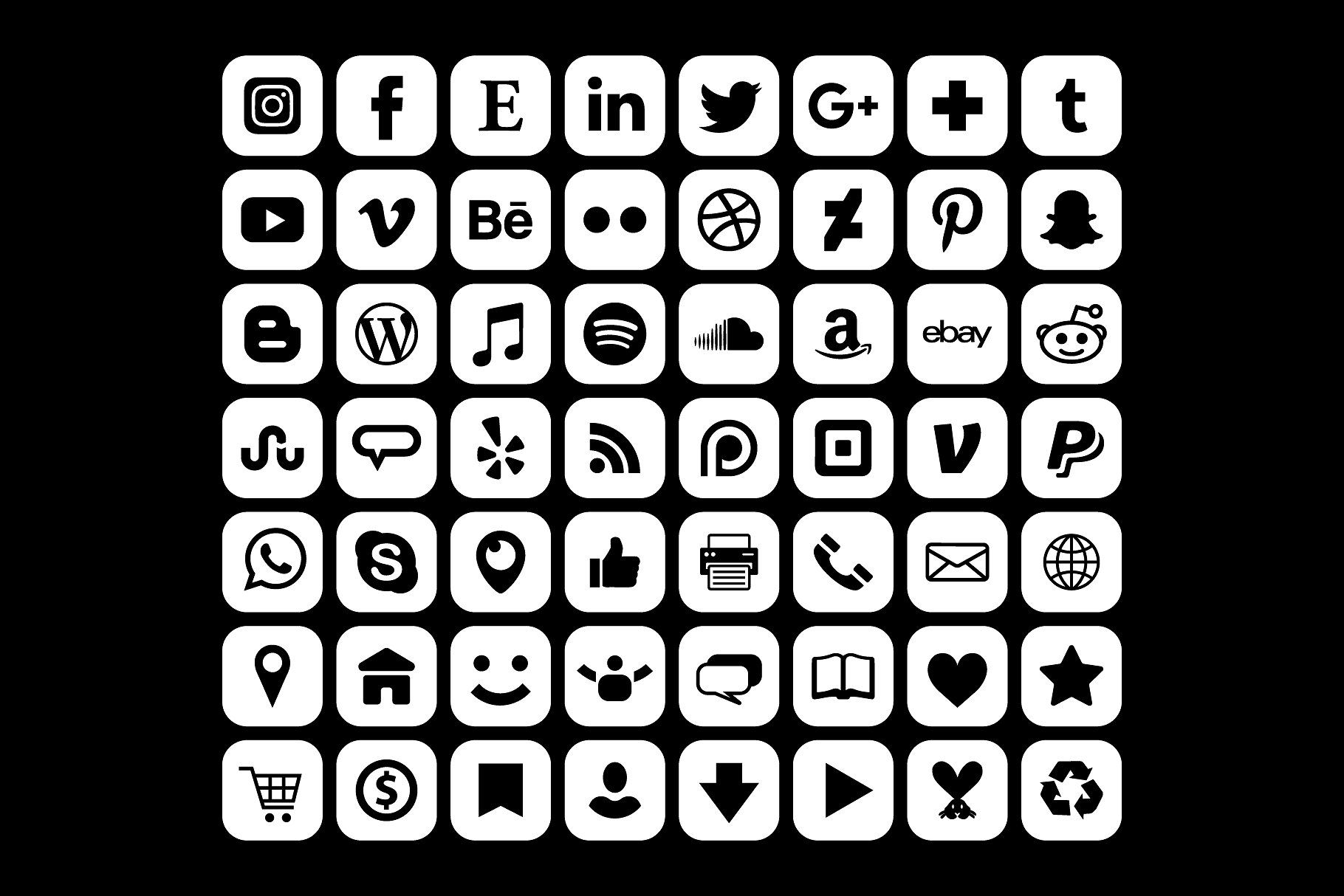 White Rounded Square Social Icons Social Icons Icon Social Media Icons