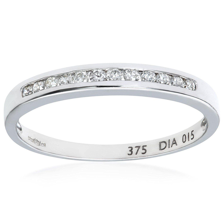 Naava Women 9 ct White Gold 0.25 ct Diamond Claw Set Eternity Ring GvdQ56Qr