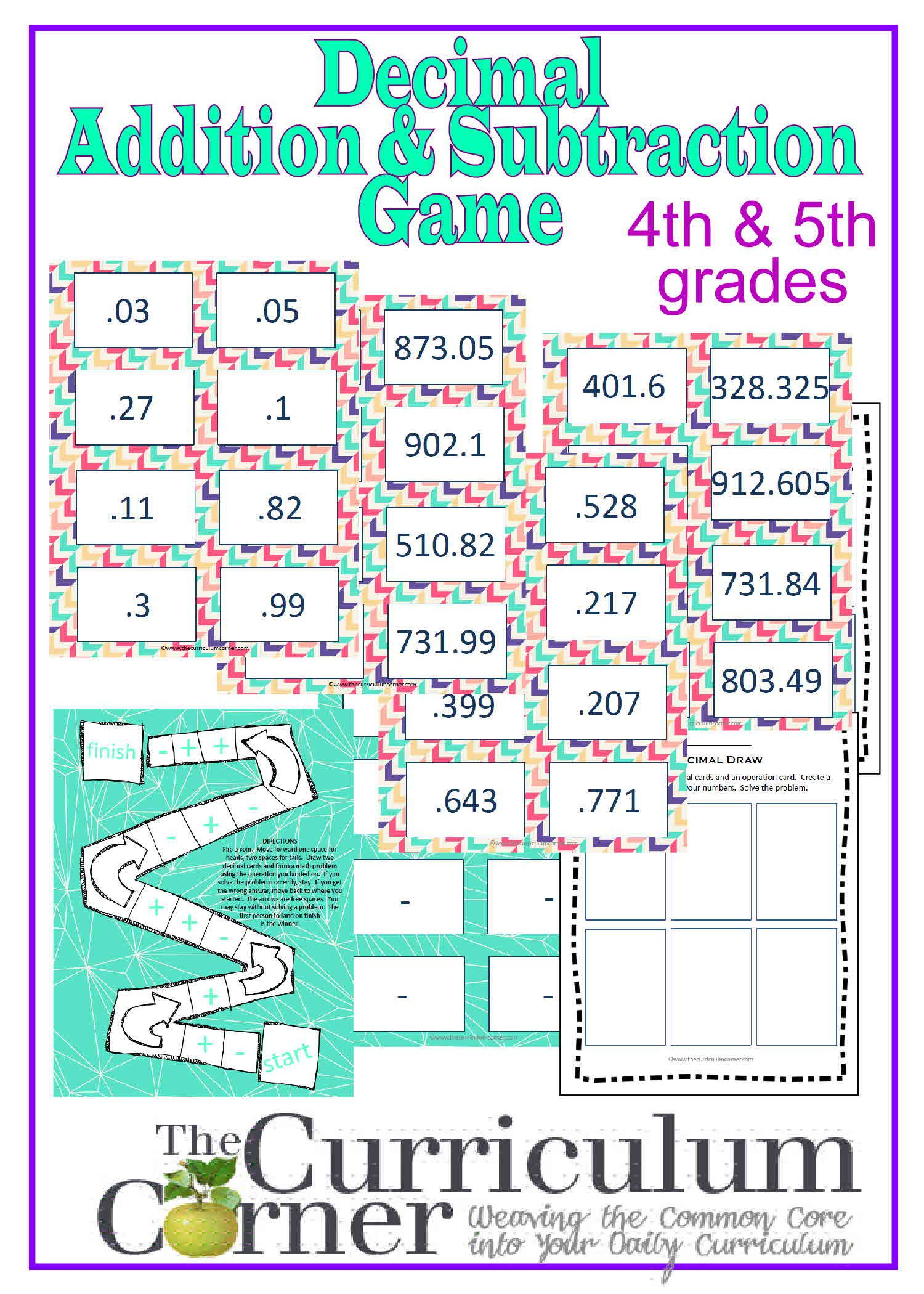 Adding & Subtracting Decimals Game | Fourth and Fifth Grade Flyers ...