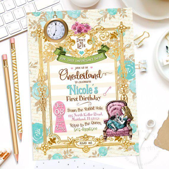 Alice In Wonderland Invitation Thank You Card Digital Files In