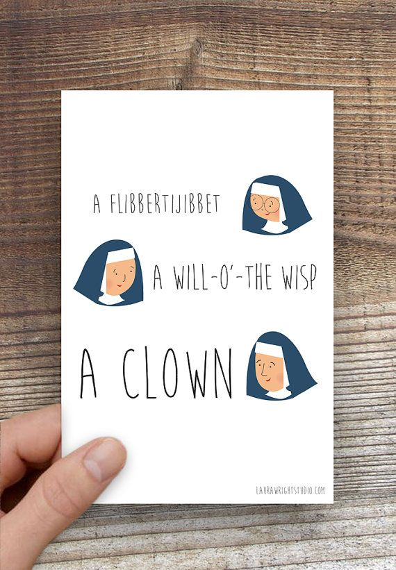 Greeting Cards Single Sound Of Music Clown Illustration Sound Of