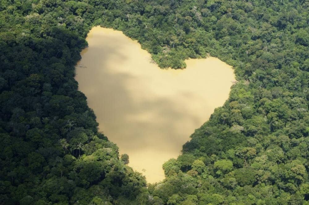 An Aerial View Of A Natural Lake Fed By A Spring In The Amazon