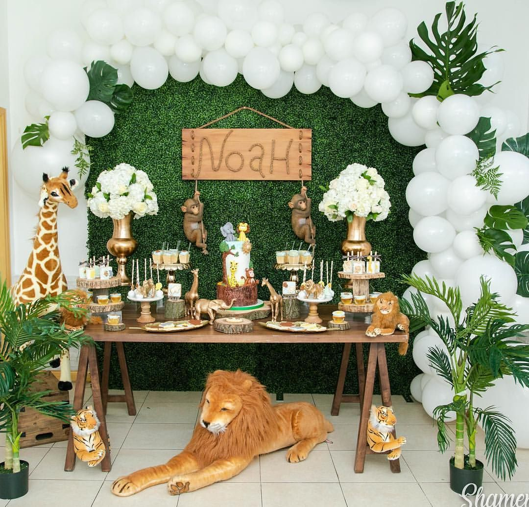 Rustic Jungle Safari Babyshower The Most Requested Theme Of This Summer Than Safari Baby Shower Boy Baby Shower Deco Jungle Baby Shower Theme
