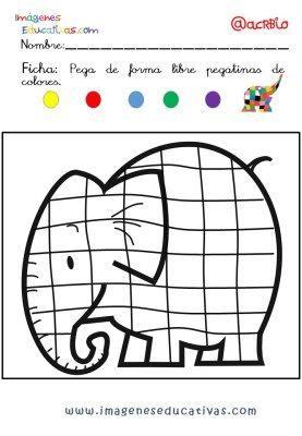 Coloriage Calcul Elmer.Estupendo Cuaderno Para Trabajar La Atencion Niveles Infantil Y