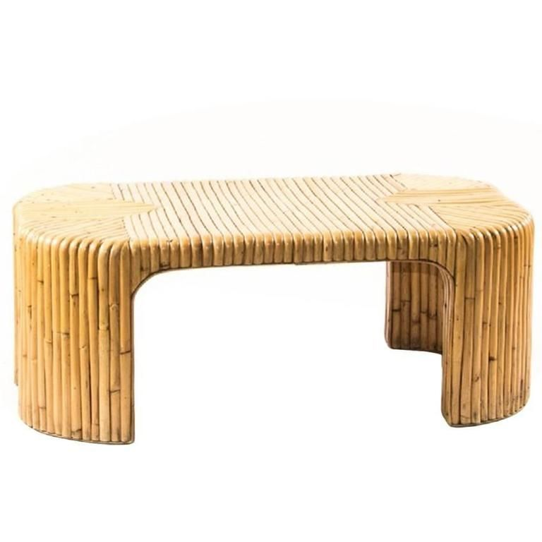 Stylish Milo Baughman Style Bamboo Coffee Table In 2019