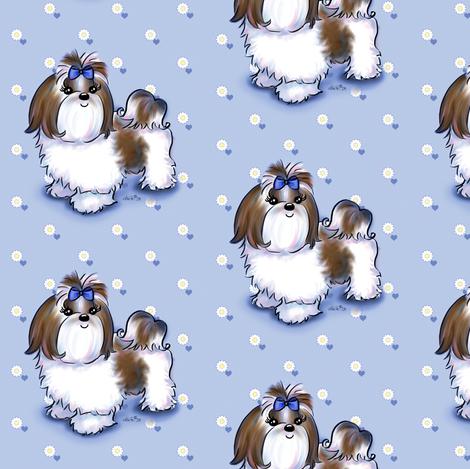 Colorful Fabrics Digitally Printed By Spoonflower Shih Tzu Beauty Blue Dog Wallpaper Dog Crafts Shih Tzu