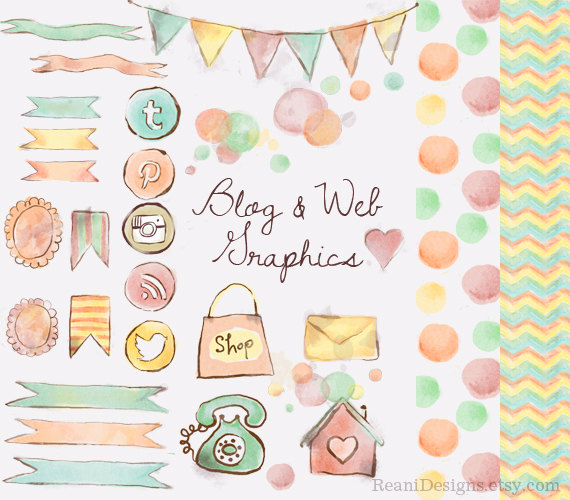Watercolor Blog And Web Graphics Clipart Social Media Icons Twitter Pinterest Rss Instagram Banner Chevron Polka Watercolor Blog Clip Art Web Graphics