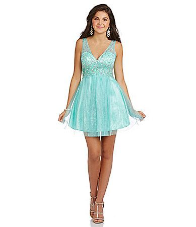 65343d7196c B Darlin Illusion Straps Party Dress  Dillards
