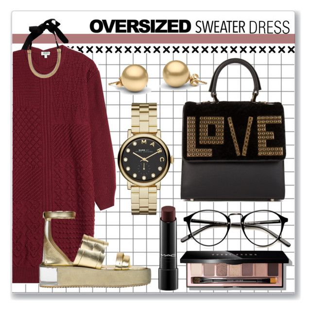 """""""Oversized Sweater DRESS"""" by astriddt ❤ liked on Polyvore featuring moda, Kenzo, Bobbi Brown Cosmetics, Lanvin, MAC Cosmetics, Les Petits Joueurs, Marc by Marc Jacobs y oversizedsweater"""