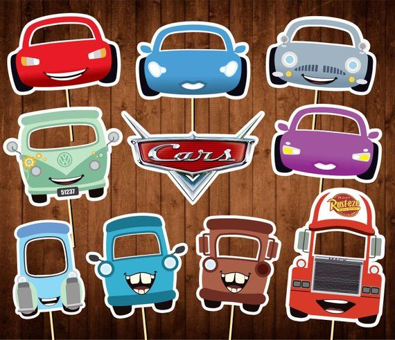 photo about Printable Pictures of Cars known as Printable Vehicles Photograph Booth Props - Disney Automobiles Celebration Masks