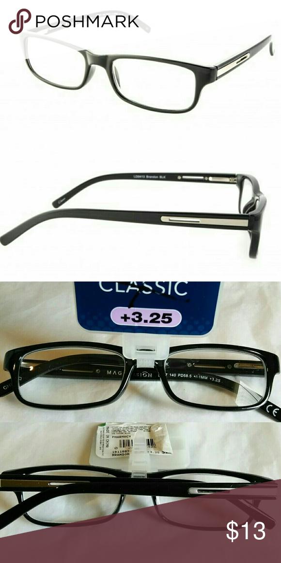 1021109595a +3.25 Magnivision Classic Men s Reading Glasses Magnivision Classic Readers  Model - Brandon BLK +3.25