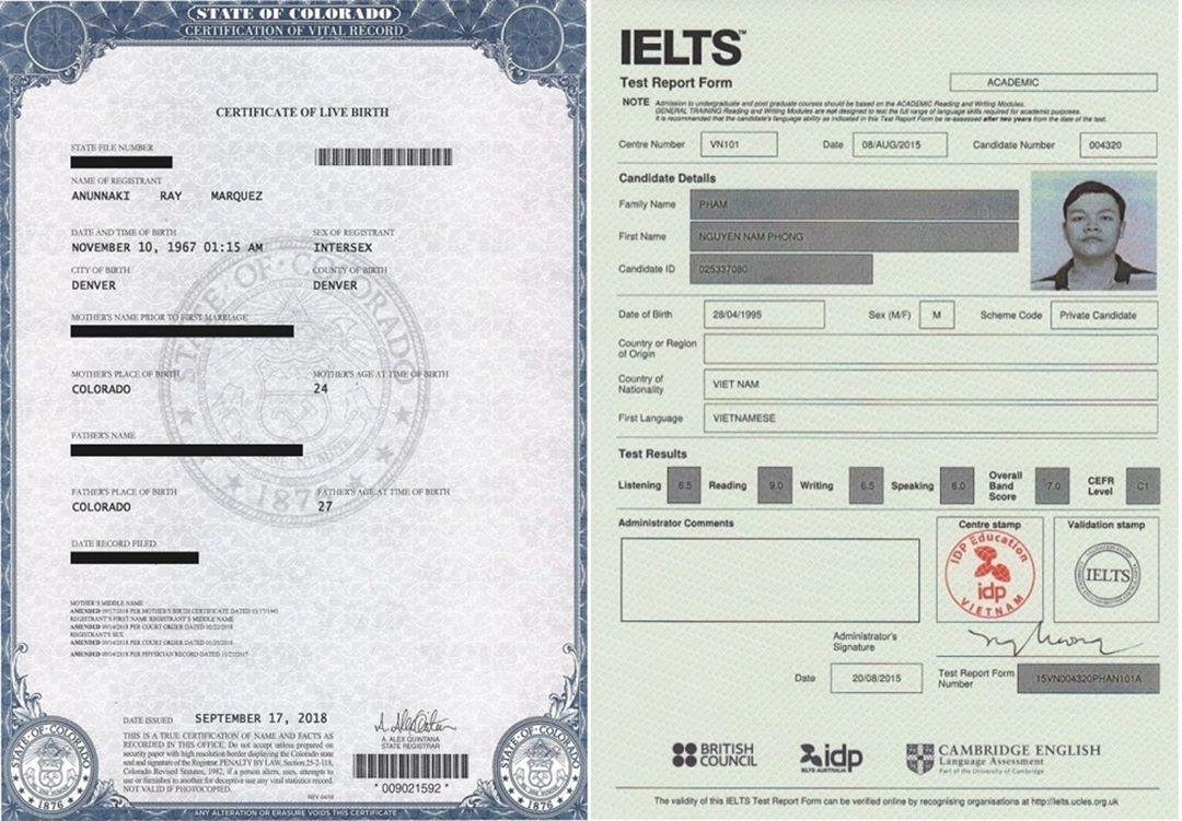 Buy Fake Birth certificates online and IELTS Certificate