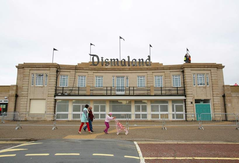The exterior of Dismaland Bemusement Park.
