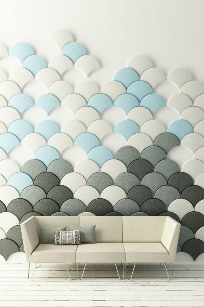Wandgestaltung Wohnzimmer Wandpaneele Sofa Dekokissen Holzboden