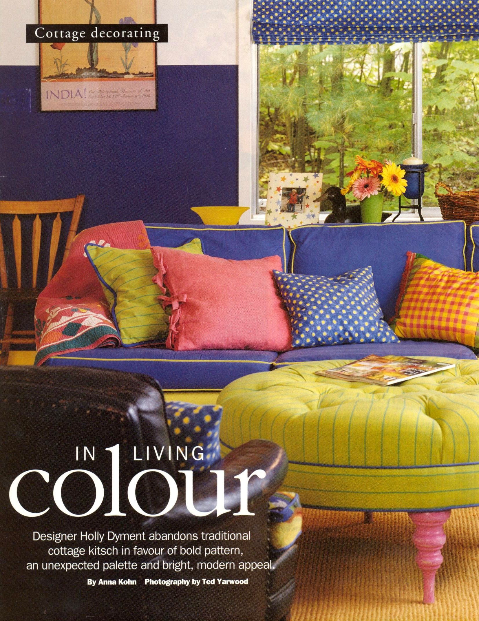 Whimsical Style Living Room Id Cobalt Blue Lime Green And