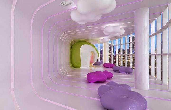 diseño de Karim Rashid del Bar de las Nubes del Baiyoke Hotel de Bangkok
