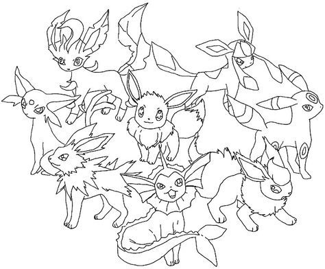 pokemon coloring pages eevee evolutions glaceon cares pinterest