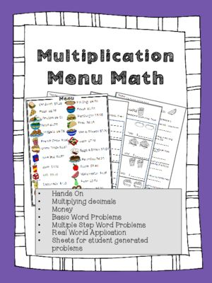 Menu Math Multiplication Money Real World Word Problems Multi Step Problems From Heatherjohnson33 O Word Problems Math Worksheets Printable Math Worksheets