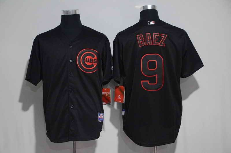 new style 68335 a0b72 $21 Chicago Cubs #9 Javier Baez Black Gray Pinstripe ...
