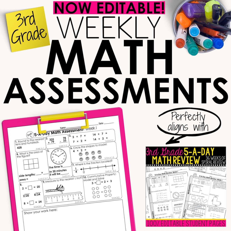 3rd Grade Weekly Math Assessments