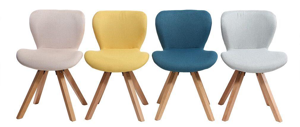 Chaise Scandinave Tissu Rose Poudre Et Bois Clair Anya Scandinavian Chairs Chair Fabric Chair