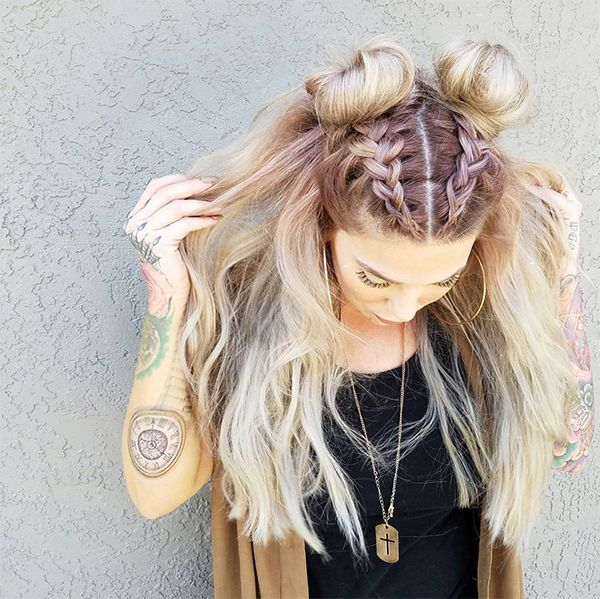 Say Goodbye To The Half Up Half Down Bun Double Buns Have Officially Taken Over As The Trendiest Cool Girl Hairstyle Of The Hair Styles Hair Long Hair Styles