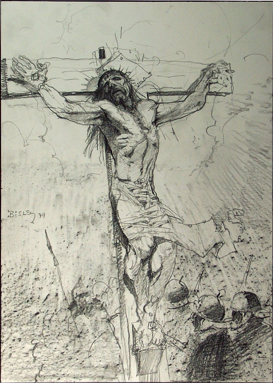 Passion of the christ in pencil 2557 crucifixion rough sketch item 2557 bisley simon pencil misc