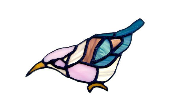 Stained glass bird suncatcher, window ornament, hanging home decor pink brown blue colour