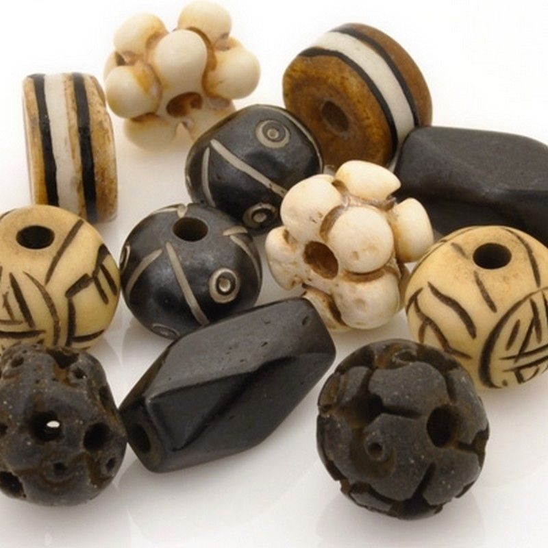 Bead Mix-8-15mm Carved No. 1-Variety-Quantity 12