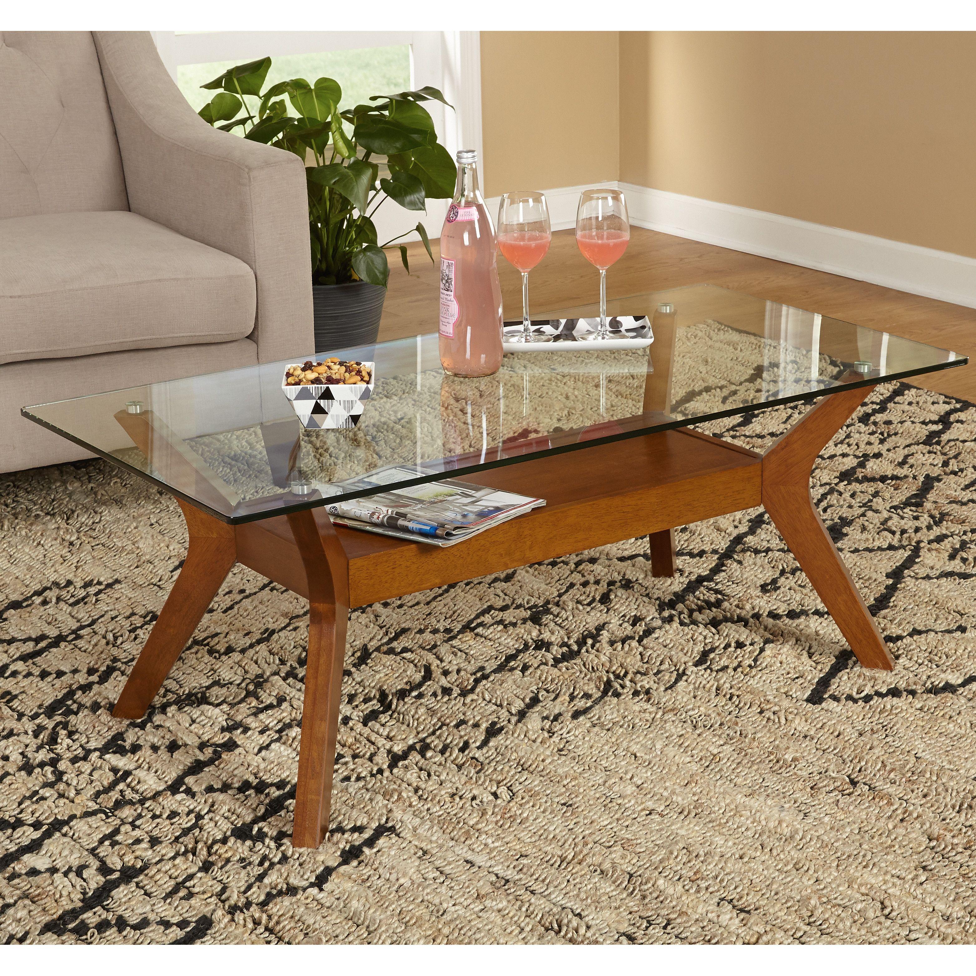 Mercury Row Aladfar Coffee Table Modern Glass Coffee Table Glass Top Coffee Table Display Coffee Table