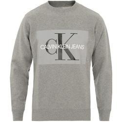 Photo of Calvin Klein Jeans Basic Monogram Logo Sweatshirt mit Rundhalsausschnitt Grau Heath Calvin Klein