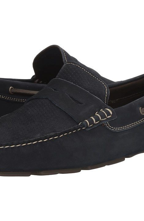 Johnston & Murphy Gibson Perfed Penny Driver Navy Nubuck Men