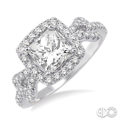 Princess cut diamond engagement ring with halo and pave set band