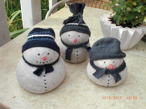Beton giessen – DIY – Schneemann aus Beton und Damenstrümpfen