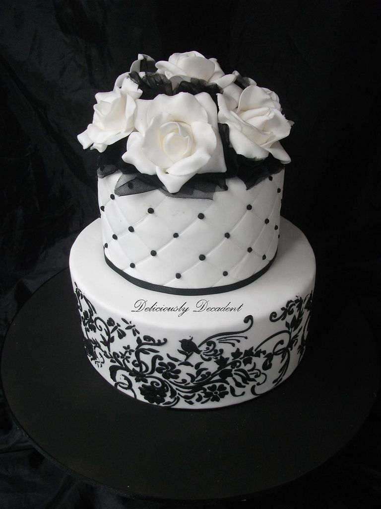 Black And White Cake With Stencil Work And Pearls Gumpaste Roses