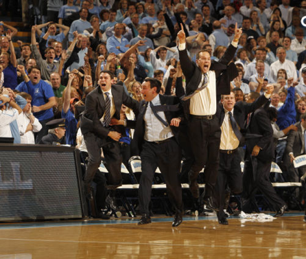 Love the coaches reaction!  Duke 85  UNC 84