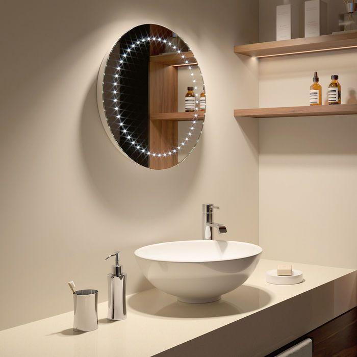 500x500mm Orb Round Illuminated LED Mirror - Battery ...