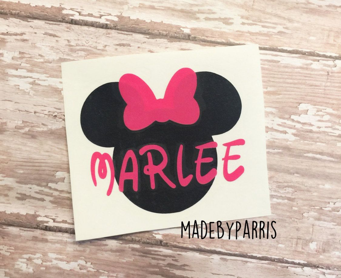 Minnie Mouse with Name Vinyl Decal, Minnie Mouse Decal, Disney Decal, Car Decal, Yeti Decal, Name Decal, Disney, Minnie,Disney Fan,Gift Idea by MadeByParris on Etsy
