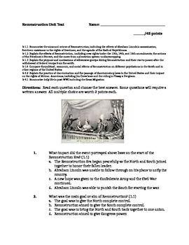 Reconstruction Unit Test   15th amendment, Multiple choice and ...
