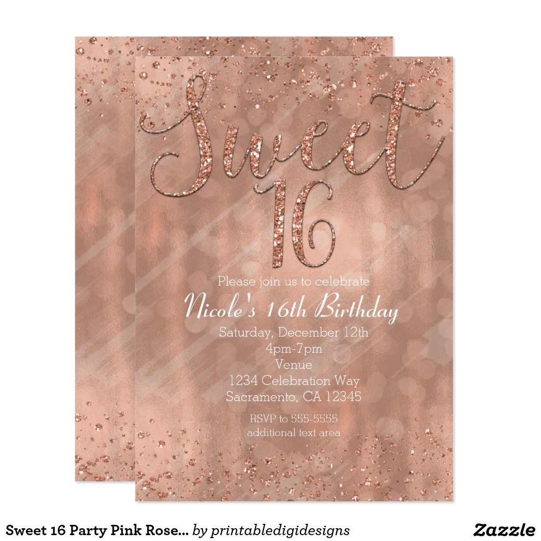 Sweet 16 party pink rose gold glamour invitations sweet 16 sweet 16 party pink rose gold glamour invitations solutioingenieria Image collections