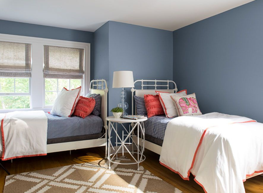 Blue Paint Ideas   Grey bedroom with pop of color, Bedroom ...