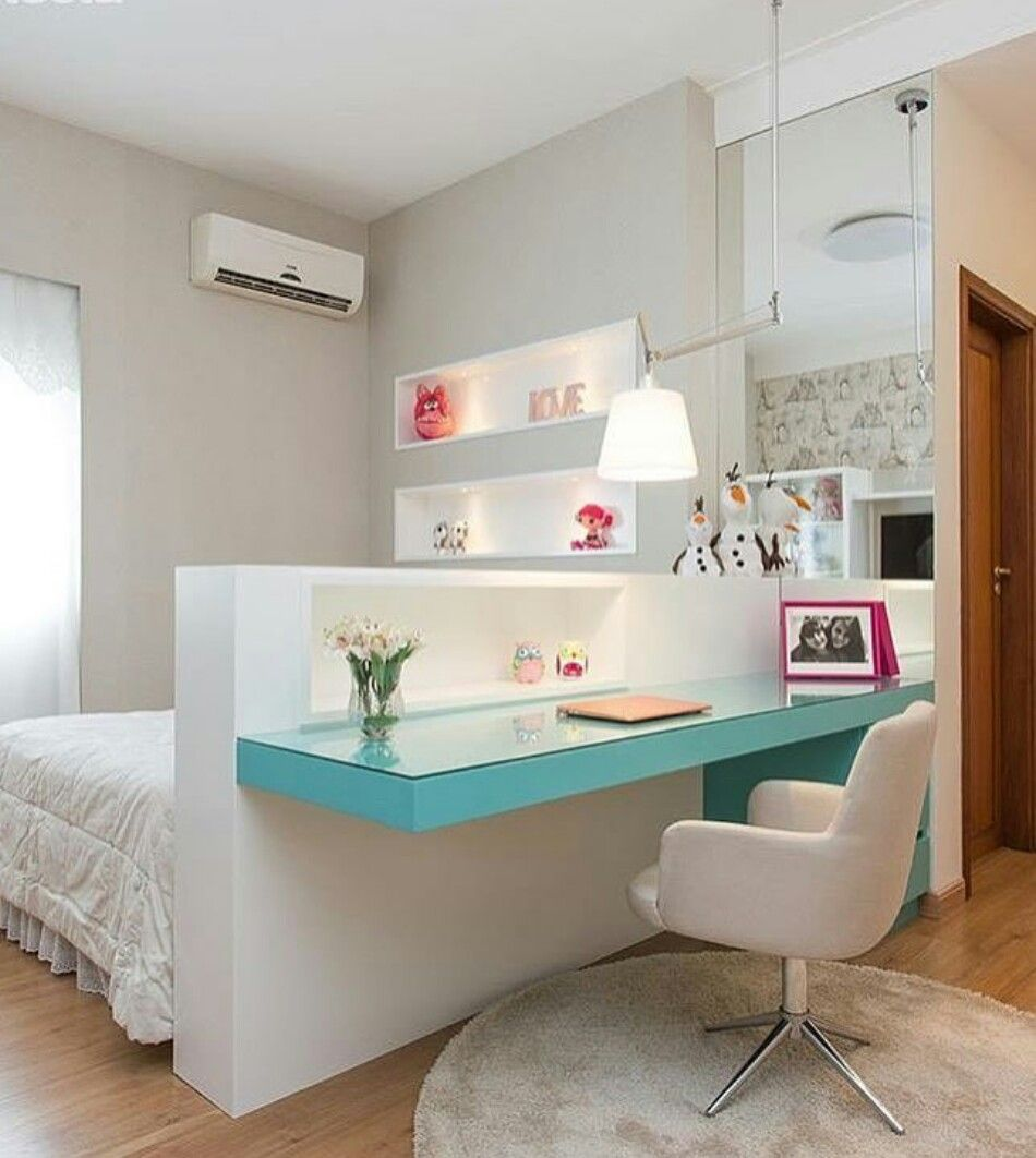Teenage Girls Bedroom Girl Rooms Pinterest Quartos Quarto  ~ Mesas De Estudo Para Quarto Pequeno