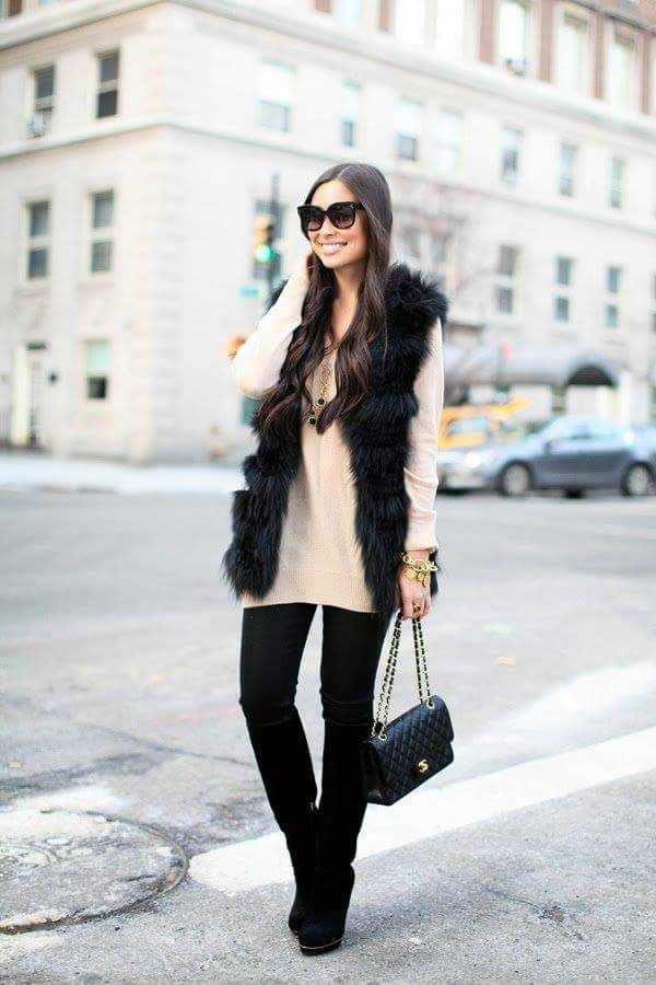 d54eb402204 Sleeveless Furry Black Jacket With Comfy Beige Sweater